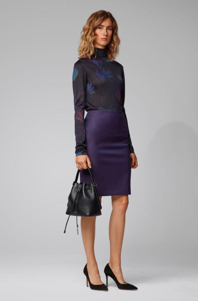 Regular-fit skirt in sharkskin virgin wool