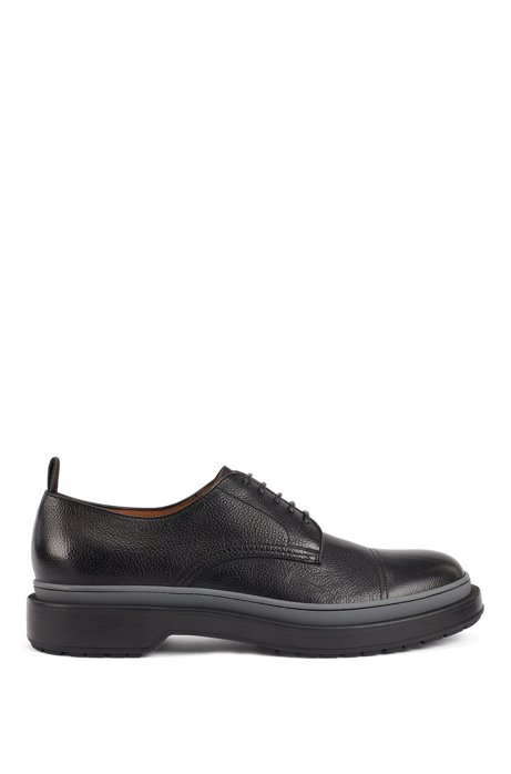 Leather Derby shoes with lug sole and contrast detail, Black