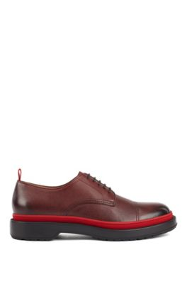 Leather Derby shoes with lug sole and contrast detail, Dark Red