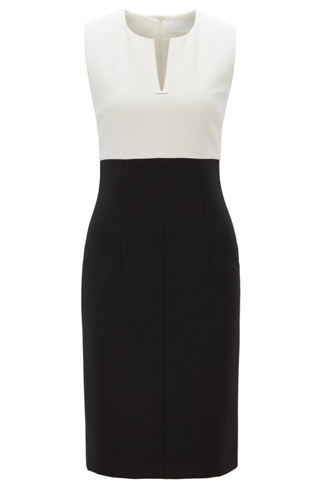 Sleeveless dress with notch neckline and hardware detail, Black