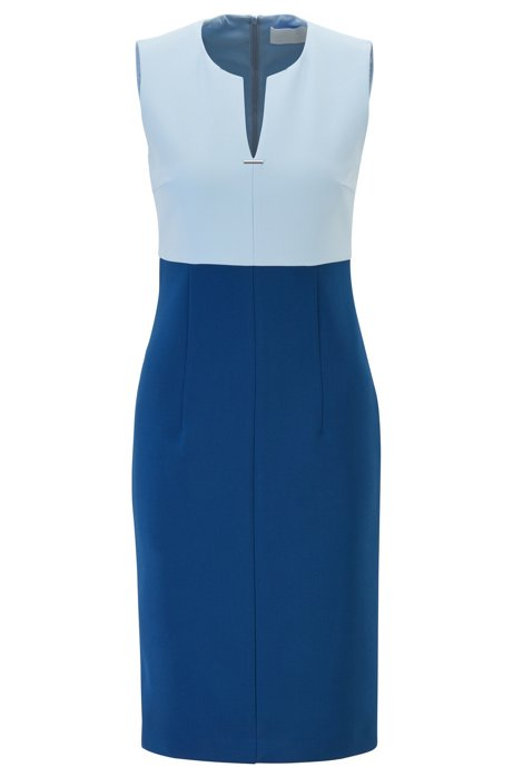 Sleeveless dress with notch neckline and hardware detail, Blue