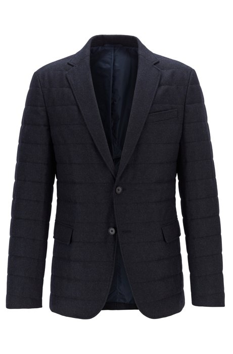 Slim-fit jacket in a quilted wool blend, Dark Blue