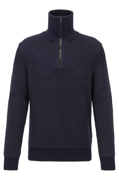 Knitted sweater with V-shaped intarsia and reversible zipper, Dark Blue