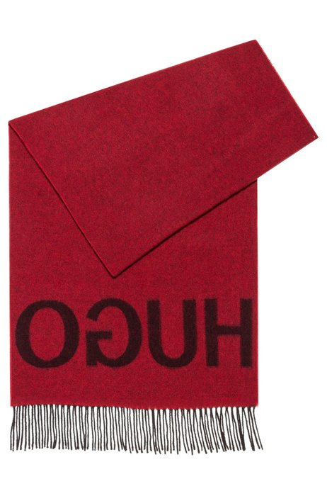 Reverse-logo scarf in a wool-blend jacquard, Patterned