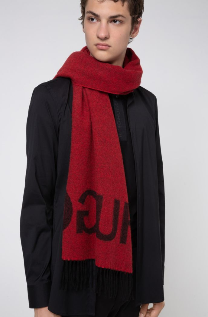 Reverse-logo scarf in a wool-blend jacquard