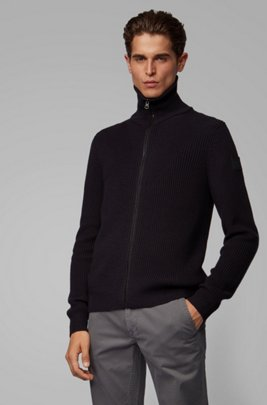 Regular-fit knitted jacket with stand collar, Dark Blue