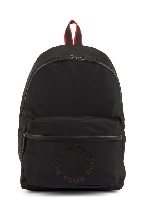 Backpack in structured nylon with logo detailing, Black