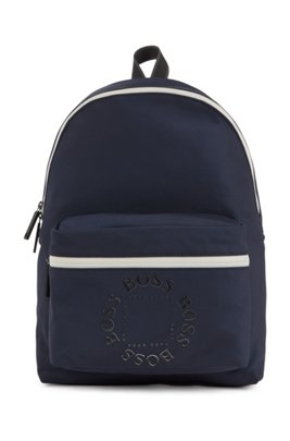 Backpack in structured nylon with logo detailing, Dark Blue
