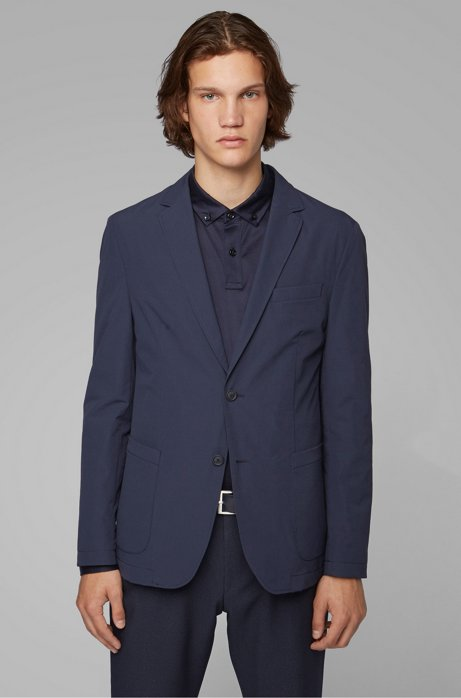 Packable slim-fit jacket in stretch fabric, Dark Blue