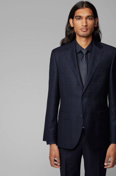 Regular-fit jacket in plain-check virgin wool, Dark Blue