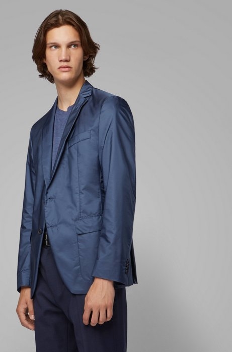 Extra-slim-fit jacket with removable hooded insert, Open Blue