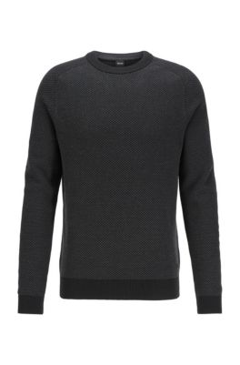Two-tone structured jacquard sweater in recycled yarn, Black