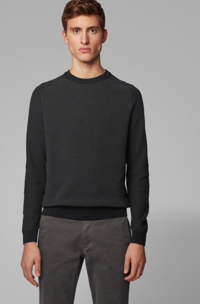 Two-tone structured jacquard sweater in recycled yarn