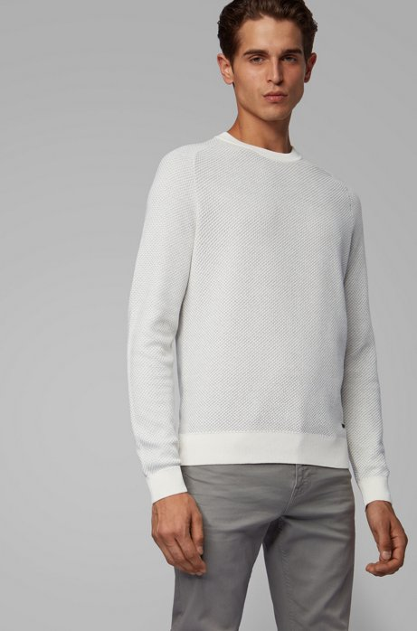 Two-tone structured jacquard sweater in recycled yarn, Natural