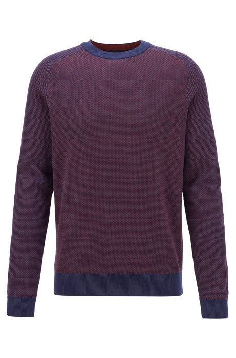 Two-tone structured jacquard sweater in recycled yarn, Dark Blue