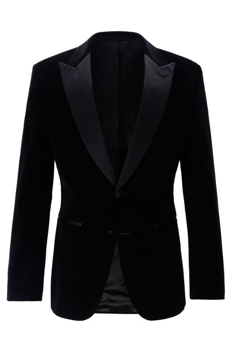Slim-fit dinner jacket in velvet with silk trims, Black