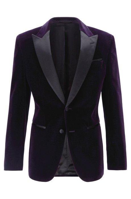 Slim-fit dinner jacket in velvet with silk trims, Dark Purple
