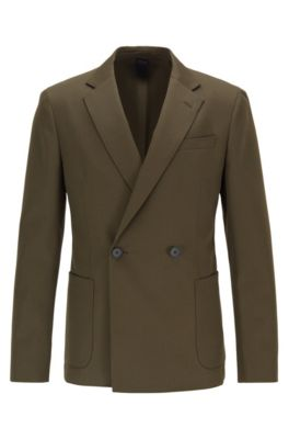 Double-breasted slim-fit jacket in virgin wool, Open Green