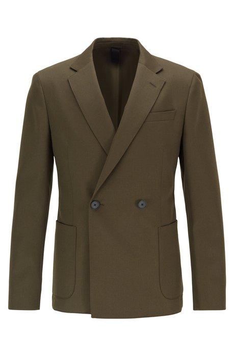Double-breasted slim-fit jacket in virgin wool, Open Green