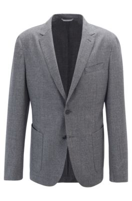 Easy-care slim-fit jacket in melange virgin wool, Grey