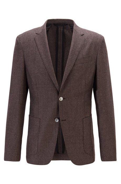 Slim-fit jacket in micro-patterned virgin wool, Dark Brown