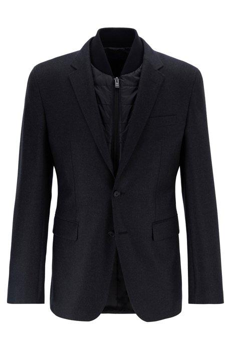 Slim-fit jacket in virgin wool with detachable vest, Open Grey