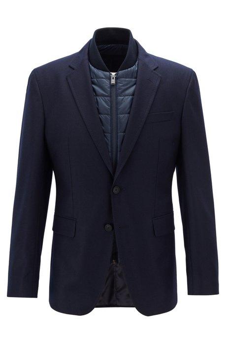 Slim-fit jacket in virgin wool with detachable vest, Dark Blue