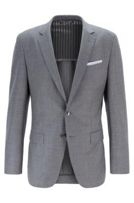 Slim-fit jacket in melange virgin wool, Grey