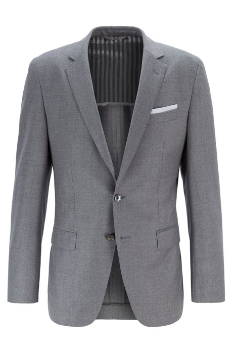 Slim-fit jacket in melange virgin wool, Grey
