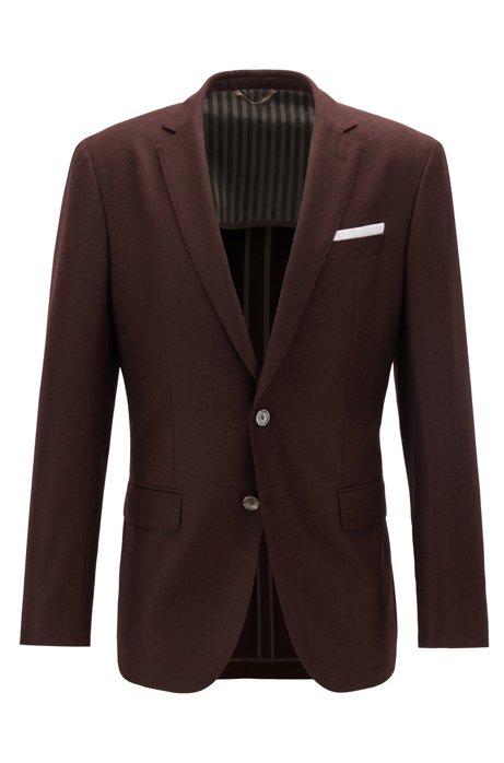 Slim-fit jacket in melange virgin wool, Dark Red