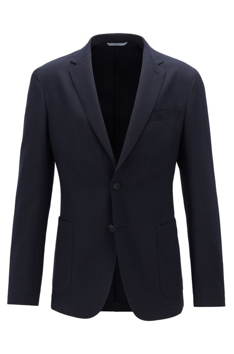 Slim-fit jacket in micro-pattern easy-care fabric, Dark Blue