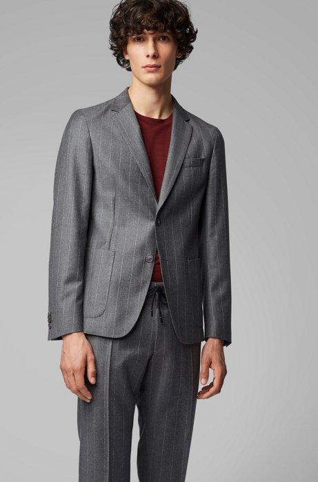 Slim-fit pinstripe jacket in a virgin-wool blend, Grey