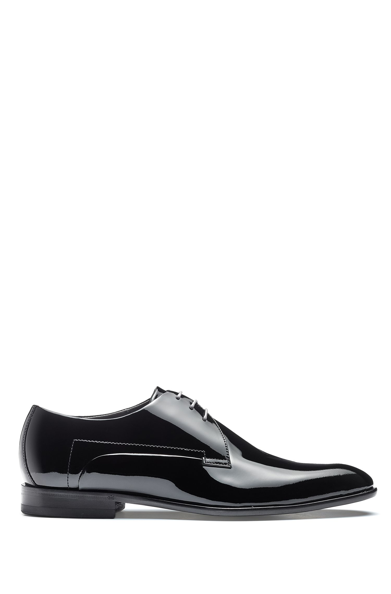 Derby shoes in patent leather with full-leather sole, Black