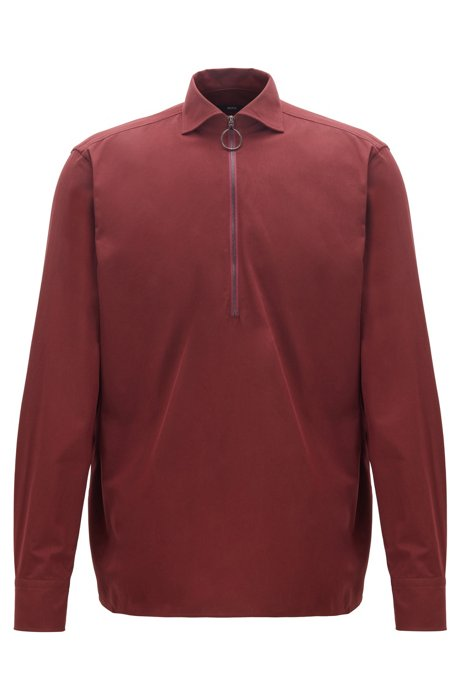 Relaxed-fit shirt in cotton twill with zipped neck, Dark Red
