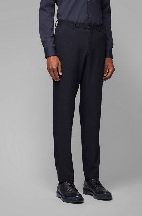 Slim-fit pants in machine-washable fabric, Dark Blue