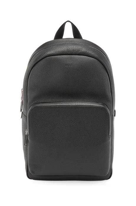 Backpack in grainy Italian leather, Black