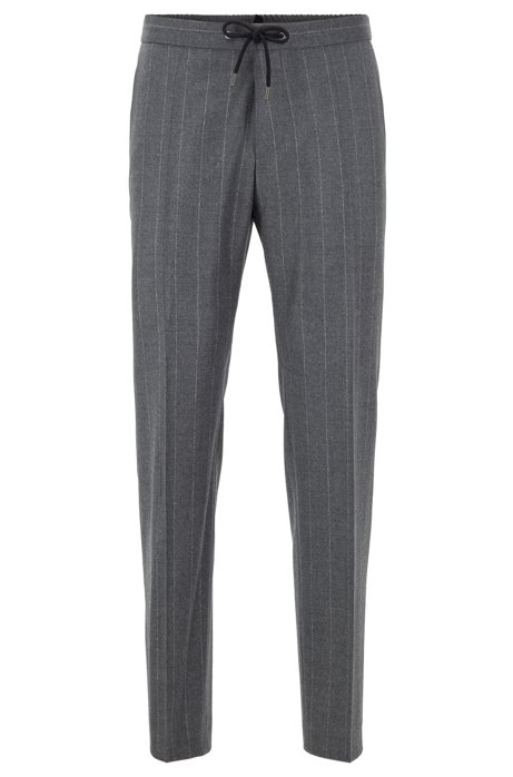 Slim-fit pinstripe pants in a virgin-wool blend, Grey