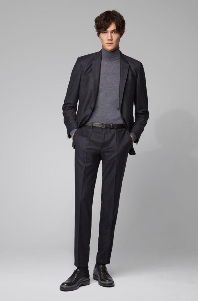 Slim-fit pants in melange virgin wool