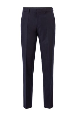 Slim-fit pants in melange virgin wool, Dark Blue