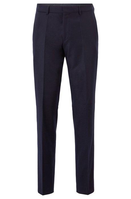 Slim-fit pants in melange virgin wool, Dark Blue