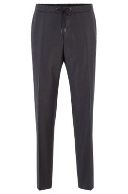 Slim-fit pants in wool with drawstring waistband, Open Grey