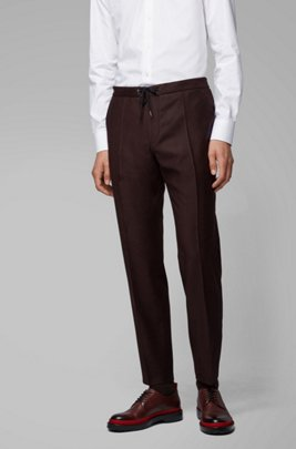 Slim-fit pants in wool with drawstring waistband, Dark Red