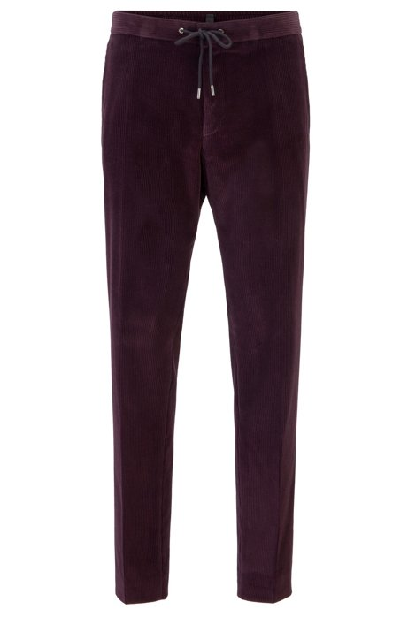 Slim-fit pants in cotton with elastic waistband, Dark Purple