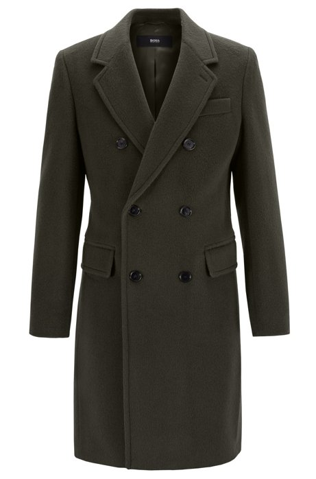 Slim-fit coat with double-breasted closure, Open Green