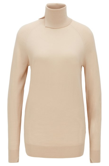 Virgin-wool sweater with high neckline, Light Beige