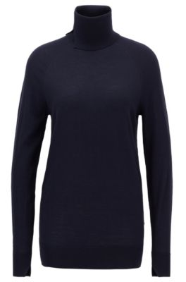 Virgin-wool sweater with high neckline, Open Blue
