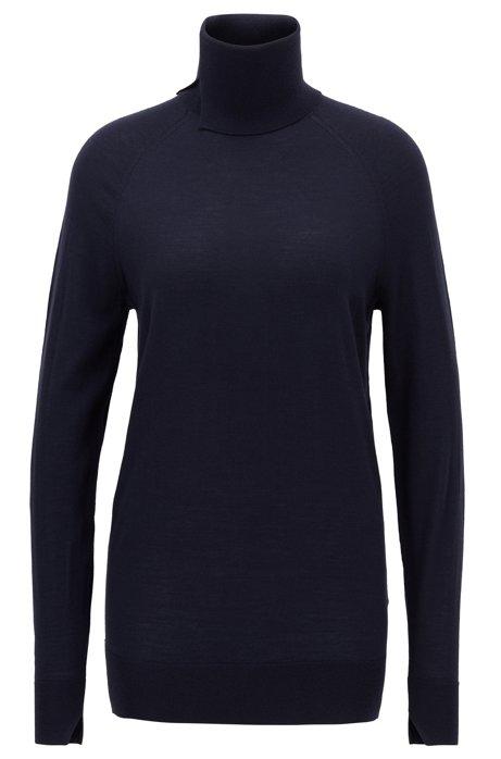 Virgin-wool sweater with high neckline, Open Blue