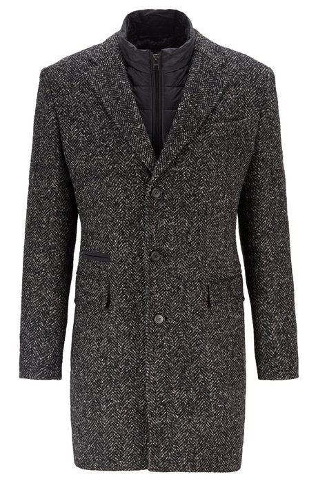 Slim-fit herringbone coat with detachable inner bib, Open Grey