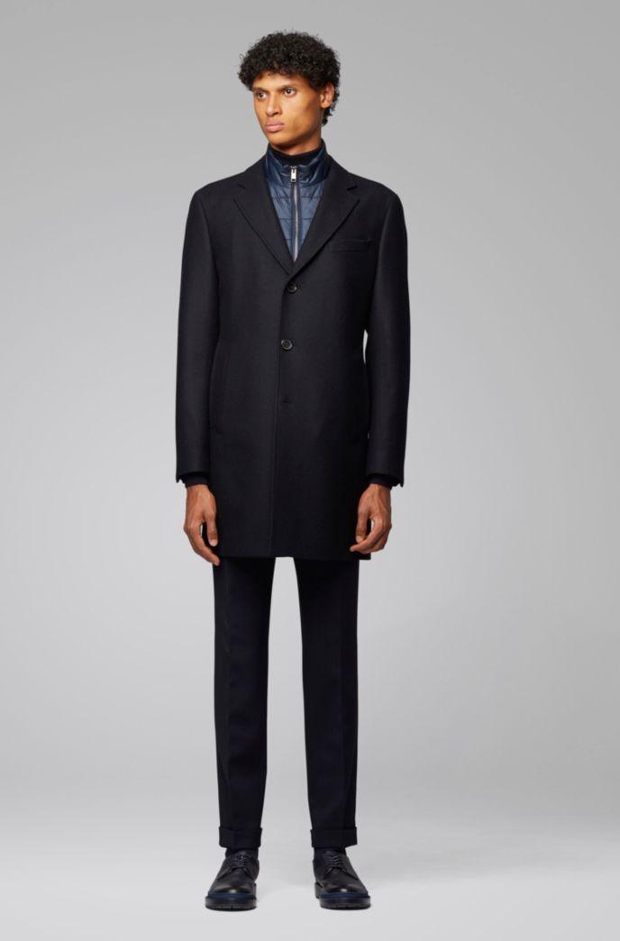 Slim-fit coat with detachable inner bib