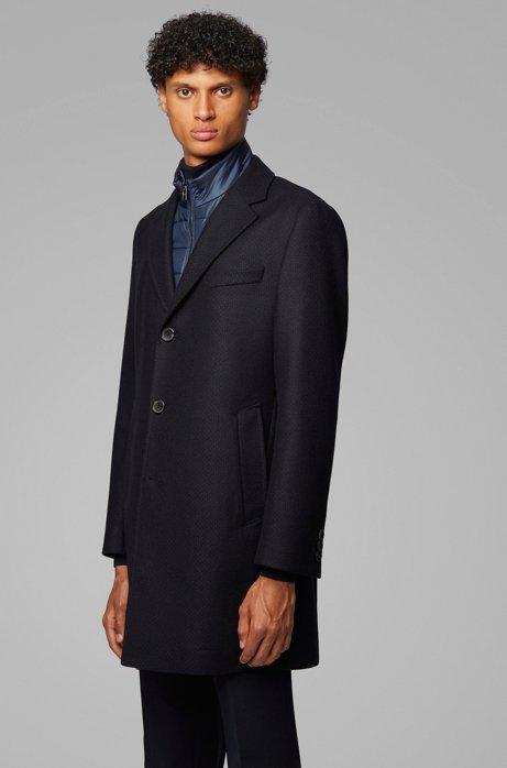 Slim-fit coat with detachable inner bib, Dark Blue